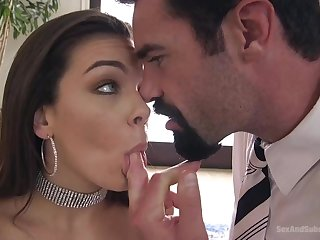 Grinning dark-haired with fat boobs, Kimber Forest got a fat man sausage in her rump, because she needed that