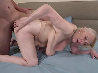 A big soft dude is fucking a horny old granny exceeding the fringe