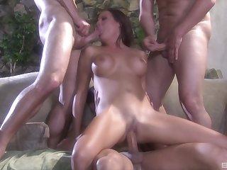Anal gangbang and rivers of cum for brunette whore Sophia Ferrari