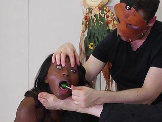 Rough fetish blowjob from a kinky ebony teen babe Noemie Bilas