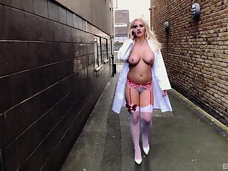 Kinky horny nurse Sienna Day ass fucked and spanked outdoors