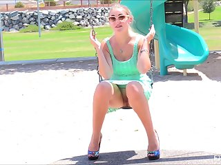 Blonde amateur teen Stella lifts up her skirt in public