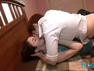 Red haired tomboy puts on strapon and fucks lovely brunet girlfriend