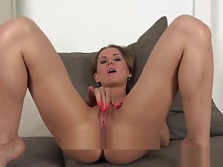 Casted euro rubbing clit before sex audition