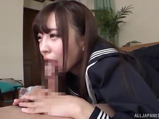 Sweet JAV schoolgirl sucks it in perfect POV