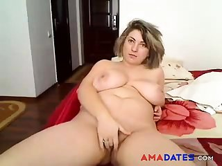 BBW amateur strip and masturbation solo
