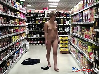 Hot Girl Strips in the Grocery Store