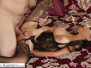 Beauty dressed in black stuff Trinity St Clair is fucked doggy darn great