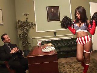 uniformed Ebony Goddess wants to please her friend with hard fuck
