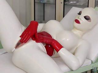 Turned on ardent Latex Lucy is ready to pet her wet pussy well