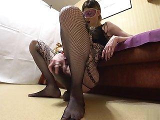 Slut jumping on a big dildo