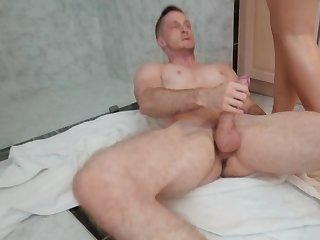 Hot Spanish mart thanks plumber by cock riding in the bathroom