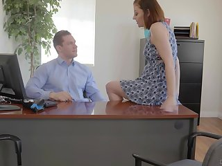 Busty office whore Sovereign Syre gets pounded on top of her boss's desk