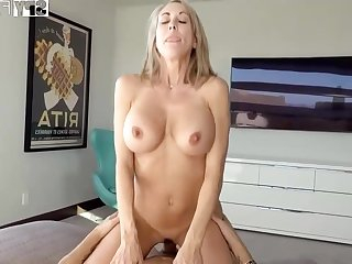 Plowing a big-titted platinum-blonde step- mom senses finer than milking off while seeing VR porno