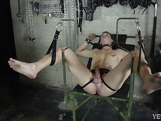 Submissive twink roughly spanked and ass fucked BDSM style