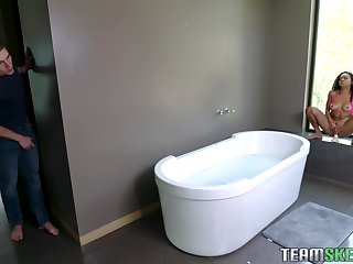Dude walks in on his stepsister masturbating in the bathroom