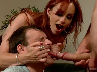 Dominant redhead shares slave's dick with her hubby in a rough trio