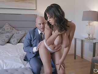 Busty wife appears naked and needy for this man's erect monster
