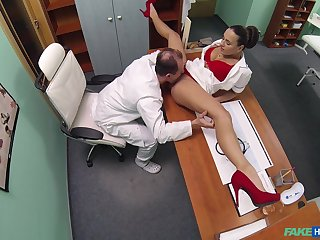 Flexible nurse Mea Melone spreads her long legs for a doctor's dick