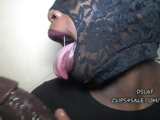Masked slut enjoys slobbering BBC in greedy way