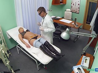 Fake doctor bangs his blonde patient Licky on the hospital bed