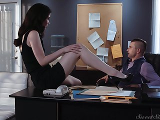 Sex-starved secretary Evelyn Claire spreads legs in front of her young boss