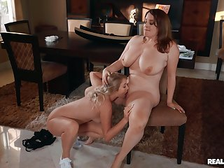 Chubby lesbians love the slim friend licking her pussy and clit