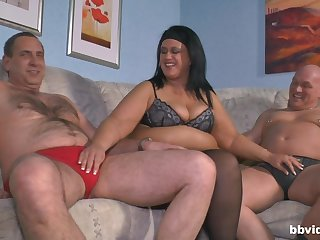 Old guy gets lucky and fucks his wife and a younger hottie