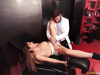 Physician works this babe;s pussy after checking her
