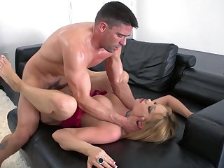 Man humps this married woman on the couch and cums on her tits