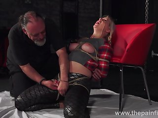 Chubby chick Masie Dee is tied up and punished with candle wax