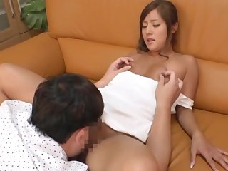 Japan honey loves the warm cock in her shaved peach