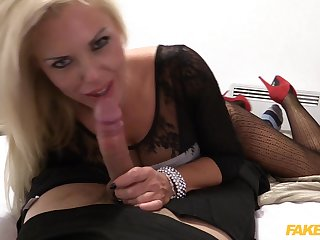 Naughty blonde Aaliyah Ca Pelle fucked from behind by a fake cop