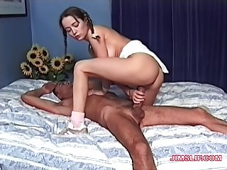 Old guy with a long dick enjoys fucking sexy younger model Vanessa