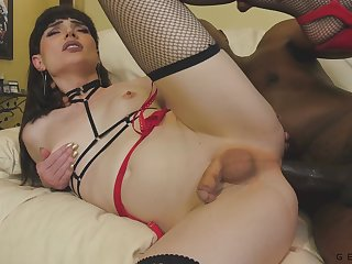 Riding massive black dick penetrating anus is fun for Tgirl Natalie Mars
