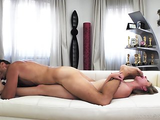 Young babe shows off sucking and fucking senior cock