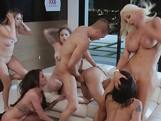 Nude wives are having a blast sharing this young lad's endless dick