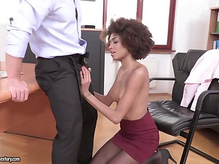 Ebony darling Luna Corazon teases in stockings and enjoys having sex