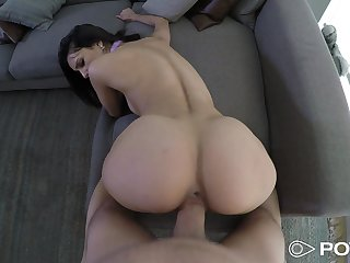 Tall Latina cutie wastes no time in getting a big cock inside her cunt