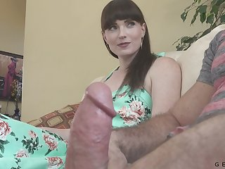 Dude's erection says it all and Natalie is more than eager to taste his cock
