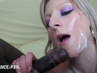 Raunchy Blond Sucking Beefy Black Dick