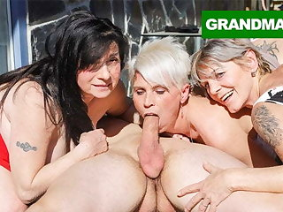 Three Hungry Grannies Finish Up a Young Cock