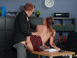 Young lassie Stacy Cruz wears a school uniform while fucked by an older guy