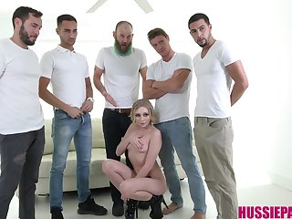 Group of horny boys fuck mouth and pussy of insatiable bitch Athena May