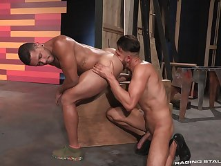 Muscular hunks FX Rios and Max Gianni delight in rough anal