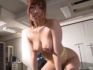 Adorable Japanese girl Chisa Hoshino moans while getting pleasured