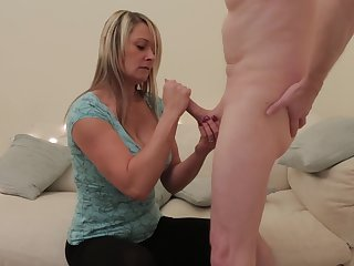 Mature gets her hands on cock for a wild play