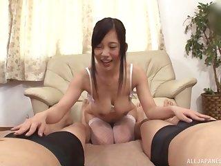 Hardcore MMF threesome with spit-roast for adorable Mizukawa Kazuha