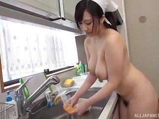 Nude Japanese girl Wakatsuki Mizuna enjoys cooking for her hubby