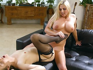 Wild lesbian sex on the leather sofa - Karla Kush and Christie Stevens